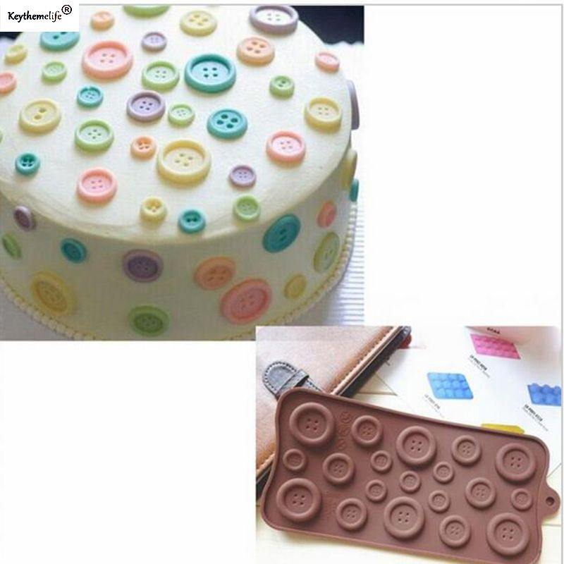 Lovely Button  Shape Cake Decoration Mould Cake Cookie Fondant Chocolate Silicone Mold Baking Tray