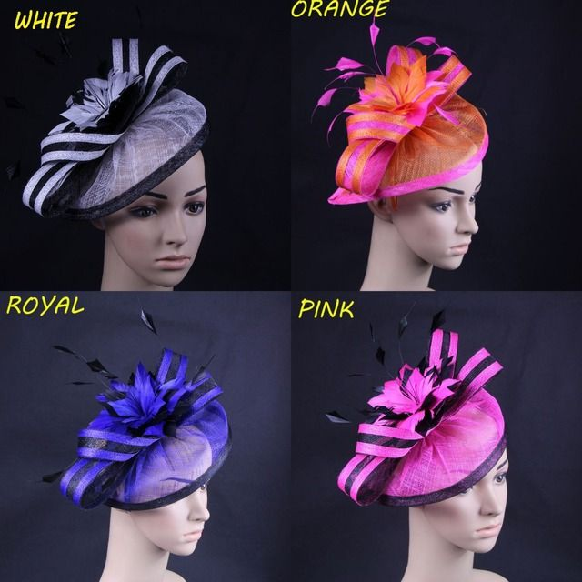 4pcs/lot Mixed Color Sinamay Fascinator Hair Accessories For Wedding,Cocktail,Races