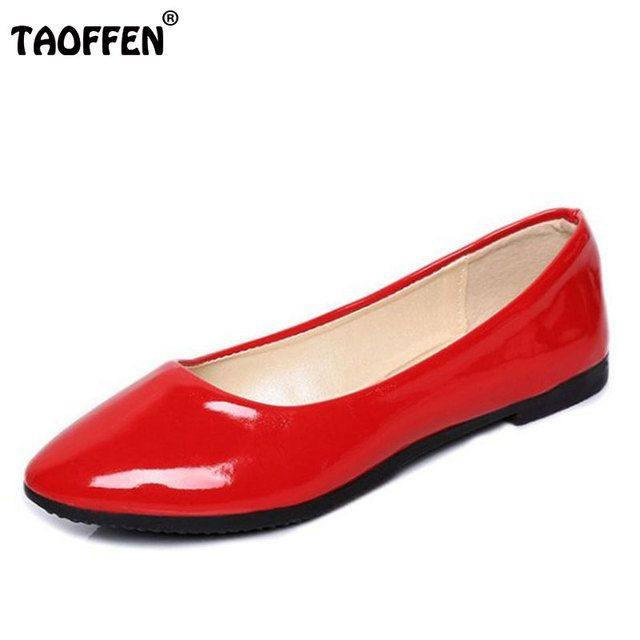 TAOFFEN Women New Candy Colors Girl Flat Shoes Hot Wholesale Soft Ballet Zapato Point Toe Women Casual Shoes size 35-40 WA0001