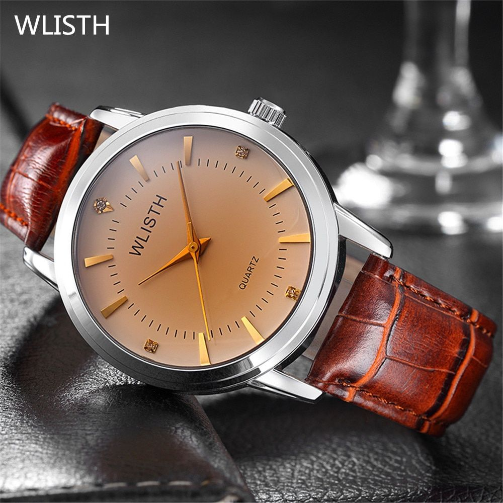 2016 New Brand Quartz Watch lovers Watches Women Men Dress Watches Leather Couple Wristwatches Fashion Casual Gold Watch for men