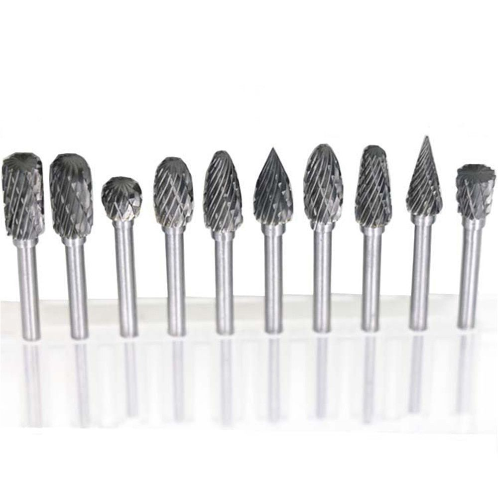 10pcs Dremel Carbide Burrs Drill Bit Set for Metal Woodworking Carving Tools Rotary Burr Micro Drill Bits  Mini Glass Diamond