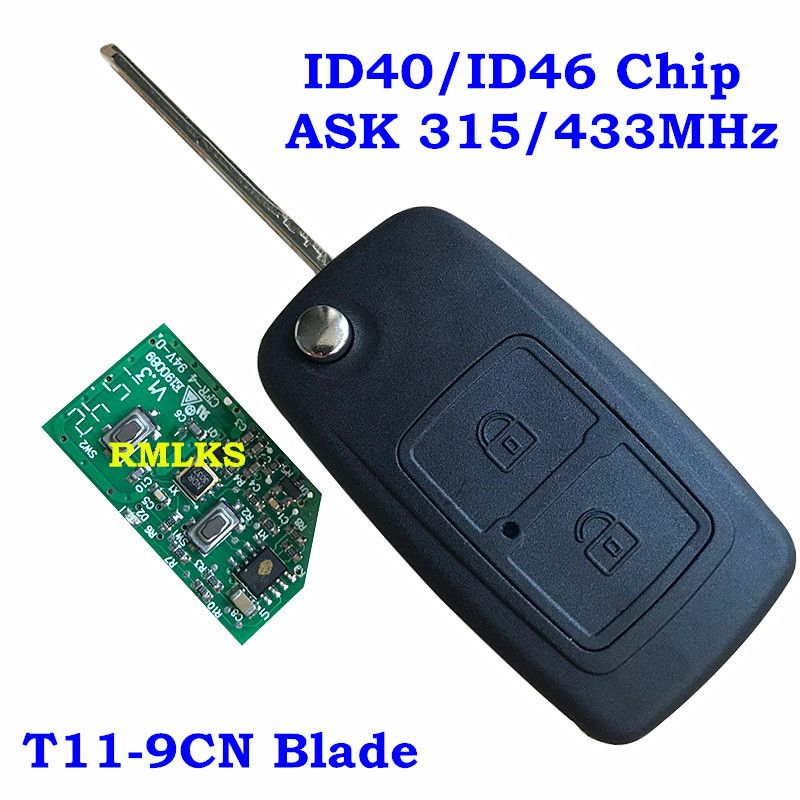 Floding 2 Buttons Remote Key 315MHz 433MHz ID40 ID46 Chip Uncut T11-9CN Blade Fit For Chery Tiggo Flip Remote Key Fob