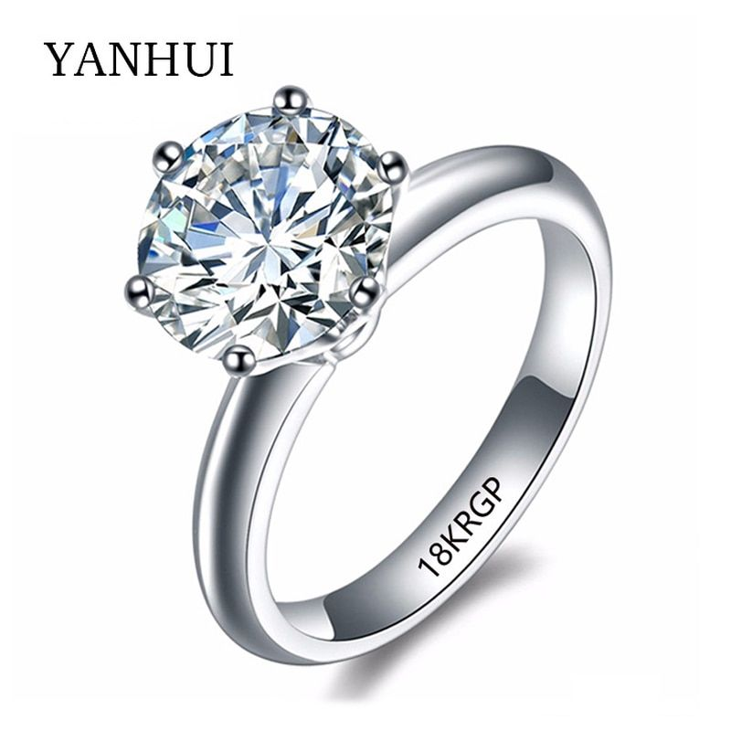 YANHUI With 18KRGP Stamp Original Gold Ring Solitaire 8mm 2ct Sona Stone Zirconia White Gold Color Wedding Rings For Women JR168