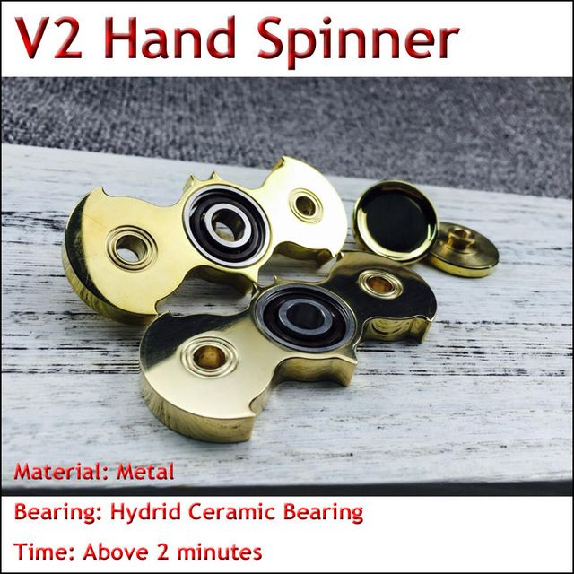 5pcs New Professional Bat Shape Hand Spinner Torqbar Brass EDC Mixed Ceramic Bearing Tri-Spinner Fidget Spinner For Autism ADHD
