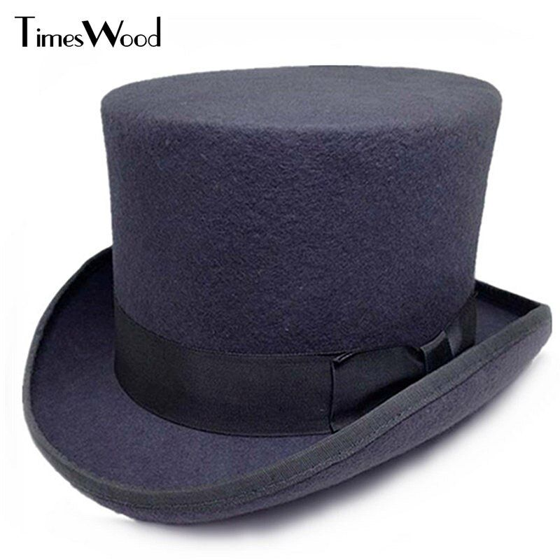13.5cm Height Black Red Gray Wool High Top Hat Men Women Chapeau Fedora Jazz Magician Felt Vintage Party Church Hats S M L XL