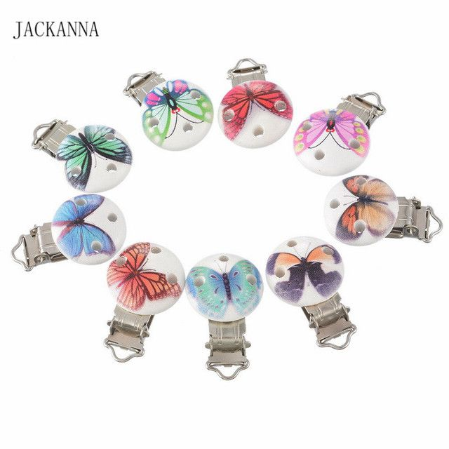 10Pcs/Lot Wooden Baby Pacifier Clips with Metal Holder Infant Cute Round Butterfly Nipple Clasps for Baby