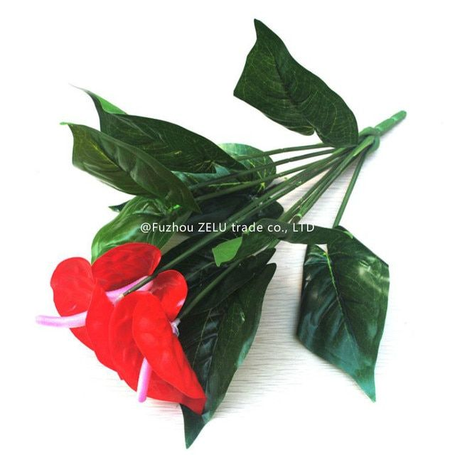Plastic Anthurium Artificial Flower Fashion Decorative Flowers Wedding Decoration Home Supplies Decorative Flowers&Wreaths 6Z