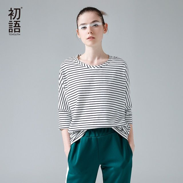 Toyouth Autumn Women Striped T-Shirts Casual Batwing Sleeve Woman Tshirt Tops Fashion 2018 O-Neck Half Sleeve Camiseta Feminina