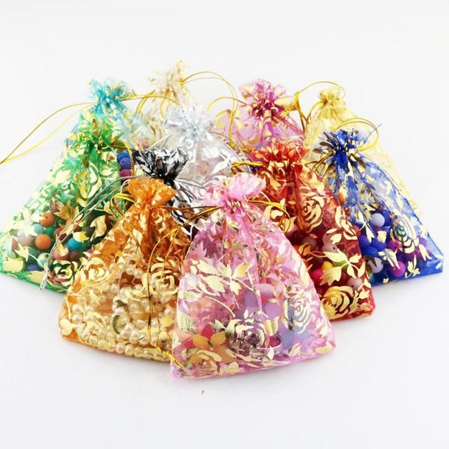 50 pcs 7x9cm Mix Color Organza Candy bag Wedding Gift Pouch Bags for Party Holiday New Year Use Jewelry Packing s1