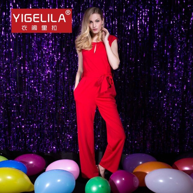 YIGELILA 5114 Latest New Women Summer Full Length Sleeveless Red Casual Jumpsuits