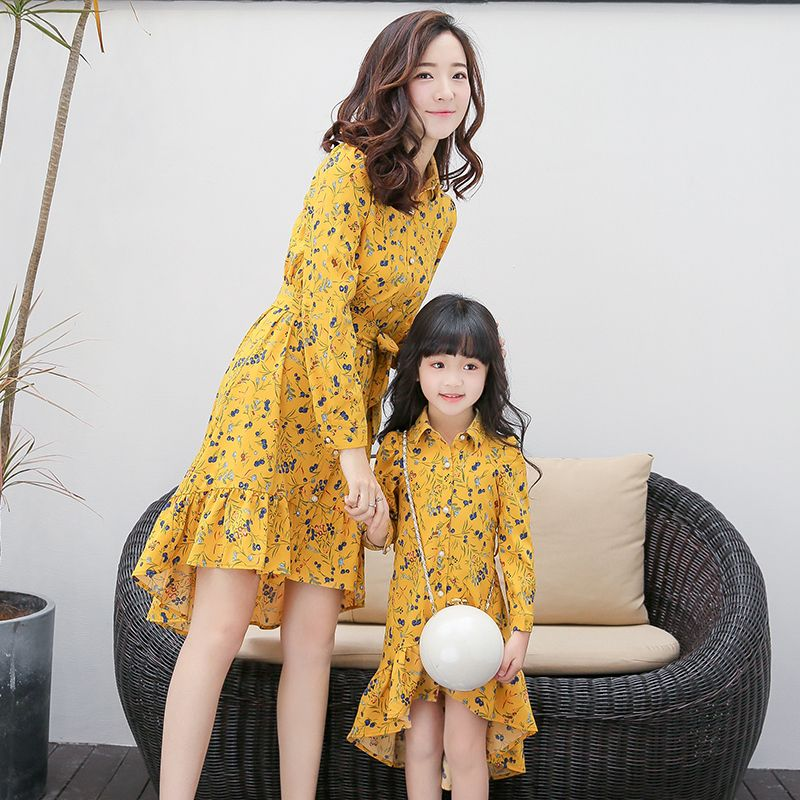 2017 Girls Summer Dress Irregular Matching Mother Daughter Dresses Wedding Party Family Dresses Long Sleeve Vestido Mae E Filha