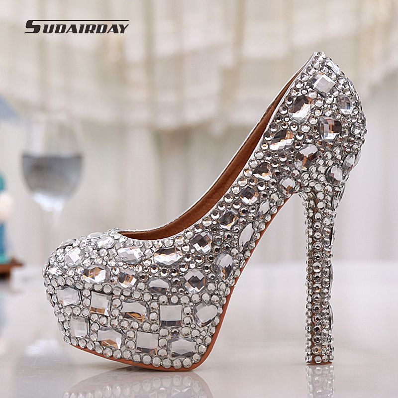 2016 New Women Shoes Pumps Handmade Female Noble Diamond Wedding Shoes Sexy Fashion Women's High Heels Dress Shoes Large 35-43