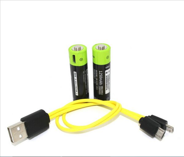 2pcs ZNTER 1.5V AA 1250MAH rechargeable li-polymer lithium li-ion battery USB battery with USB charging cable