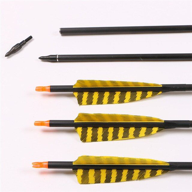 6 pieces pure carbon recurve bow arrow real turkey feather