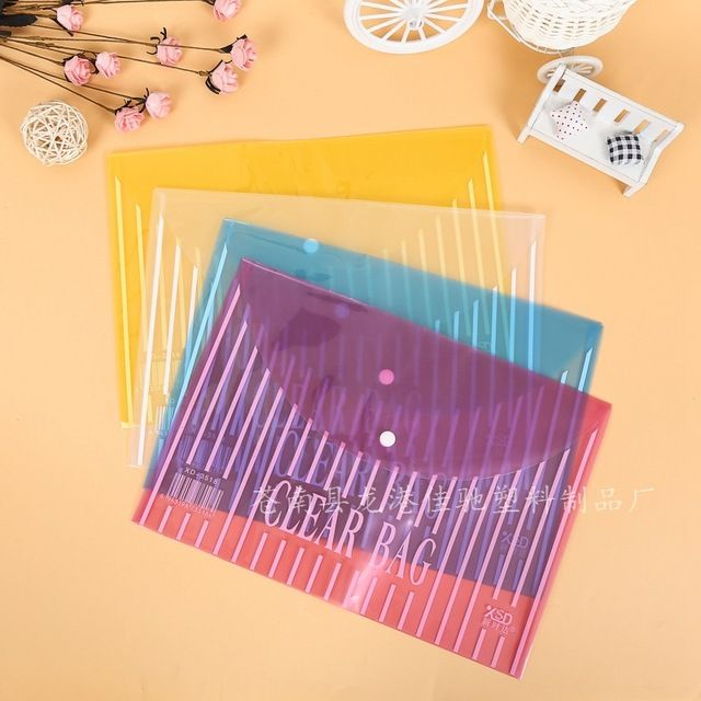 Brief Style Color Transparent A4 Push Button File Document Bag File Folder Stationery Filing Production
