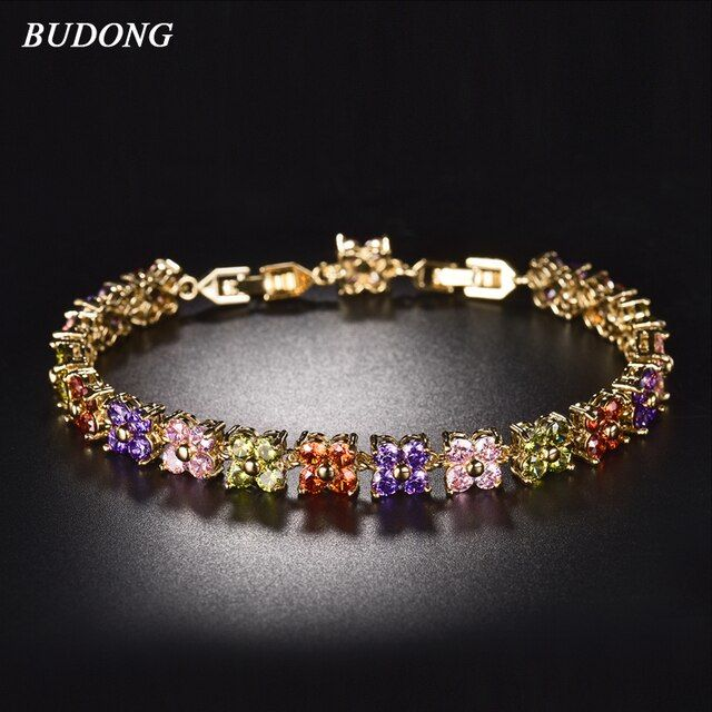BUDONG 20cm Women Four Leaf Clover Chain Bracelets  Silver/Gold Color Bracelet Fashion Crystal Cubic Zirconia Jewelry xuL109