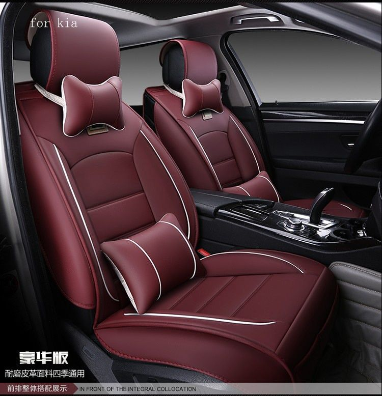 For kia rio sportage ceed cerato soul red black waterproof soft pu leather car seat covers easy clean front &rear full seat