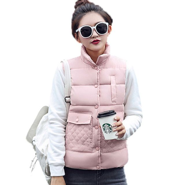 2016 Women Autumn/Winter Fashion Waistcoat  Warm Down Cotton Wool Collar Vest Female Plus Size Jacket Outerwear