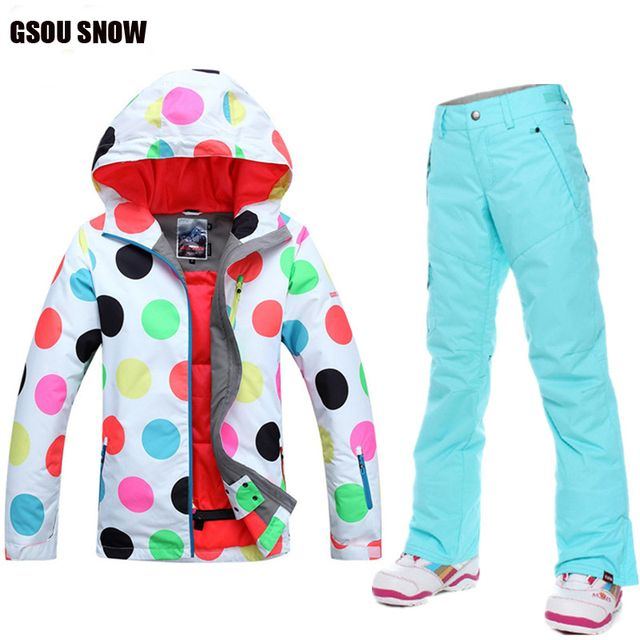 Gsou Snow Women Snowboard Ski Suit Mountain Ski Jackets+Ski Pants Winter Outdoor Sports Snow Wear Ladies Warm Clothes Waterproof