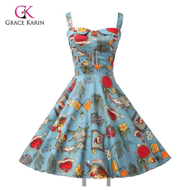 2018 Ladies 50s Rockabilly Retro Swing pinup Cocktail dress Womens Summer Style robe Vintage plus size Party Dresses Vestidos
