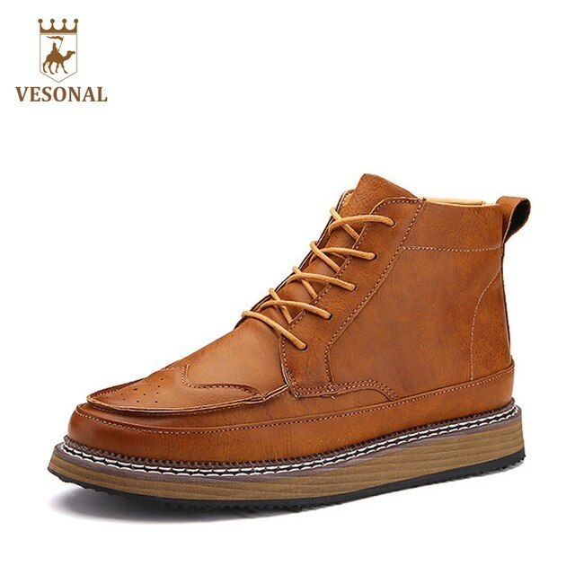 VESONAL Autumn Winter Motorcycle Men Boots Male Shoes Retro Casual Brand 2017 Microfiber Quality Designer Rubber Boot Man