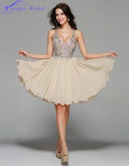 Real Pictures Sexy Backless Champagne Chiffon Short Cocktail Dress Luxury Crystal Beaded Homecoming Dresses Robe De Cocktail