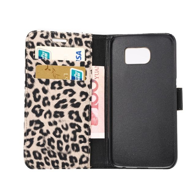 Leopard PU Leather Kick Stand Phone Pouch Cover Cases for Samsung Galaxy S6 SM-G920S/M-G920A/SM-G920F/SM-G920I/SM-G920T