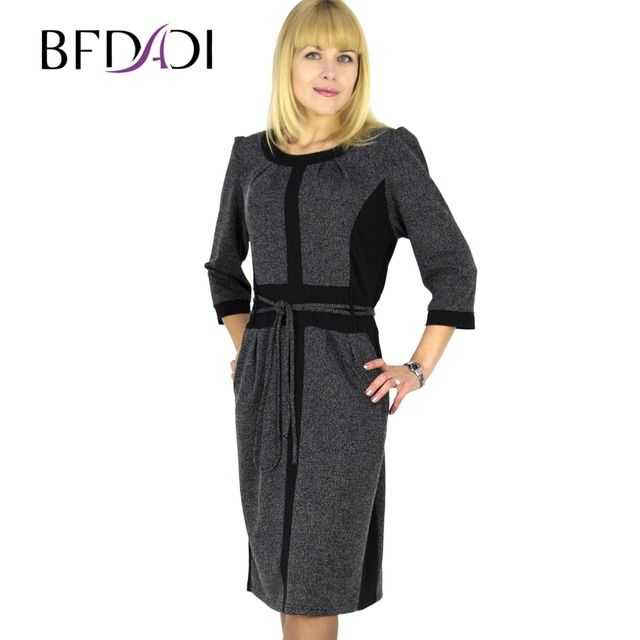 BFDADI Dresses New Rushed Natural O-neck 2016 Spring Dress Vintage Stitching Belted Tunic Wear To Stretch Office Large Size 6215