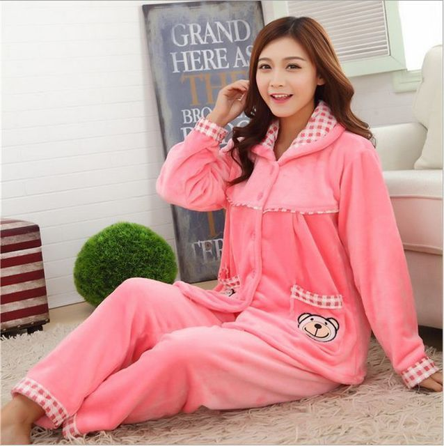 New Autumn/winter flannel pajamas thickening women sets sleepwear sweet female girl Indoor Clothing Home Suit SIZE 'M-XXXL'