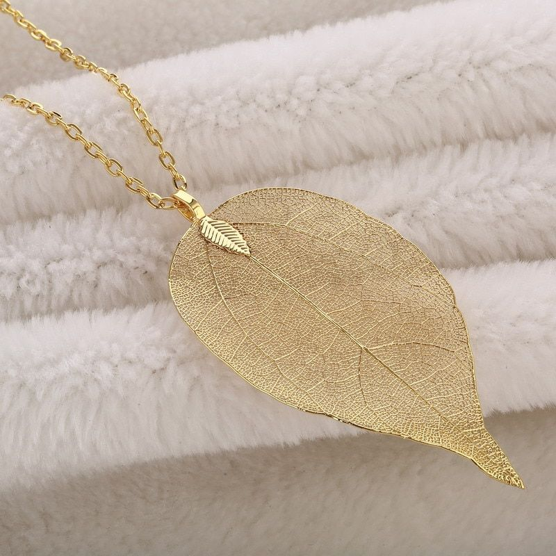 LOVBEAFAS Chain Long Necklace Women Jewelry Big Statement Vintage Kolye Necklaces Pendants Natural Real Leaf Necklace Party Gift