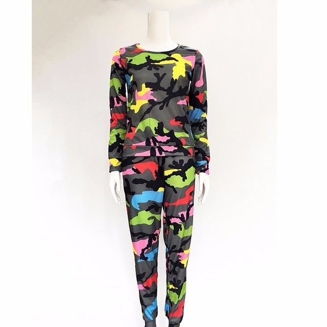 New women Sportwear Suits Camouflage printed long-sleeved casual suit hoodies 2 piece Leisure Sets for Spring Autumn P30