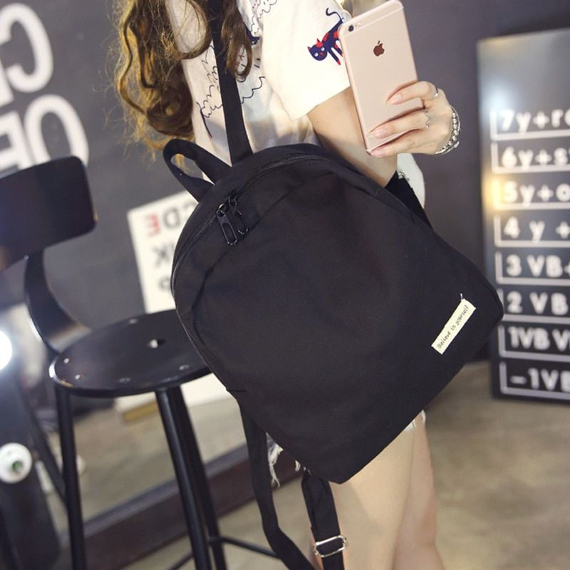New Canvas backpacks for teenage girls fashion Black backpack women mochila casual shoulder school bag travel bag