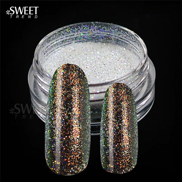 1pcs Shining Holographic Mermaid Effect Nail Glitter Powder Nail Art Tip Decoration Magic Glimmer Powder Women Nails DIY LAHC02