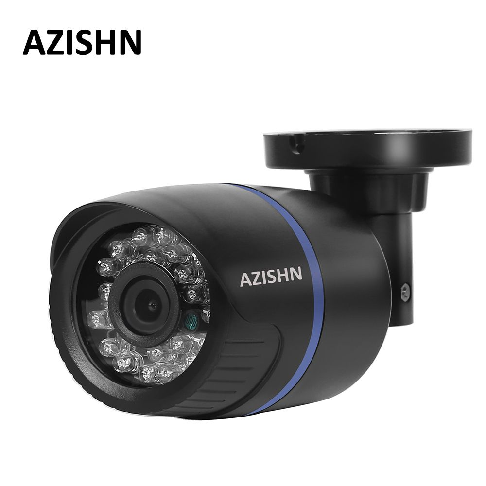 AZISHN IP Camera PoE 1080P Outdoor Full HD 1080P 2MP POE Bullet IP Camera Security IR Cut P2P ONVIF 1080P Lens PoE Cable