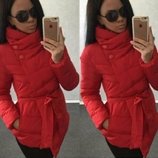 2016 winter jacket women Cotton down coat high collar with belt parkas for women winter 9 colors warm outerwear coats
