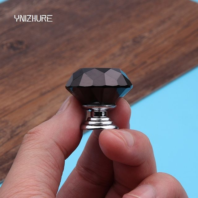 30mm 10pcs Modern Luxury Black diamond K9 Crystal Handle Knobs Furniture Jewelry Box Kids Room Door Used Pull Handle-Knobs