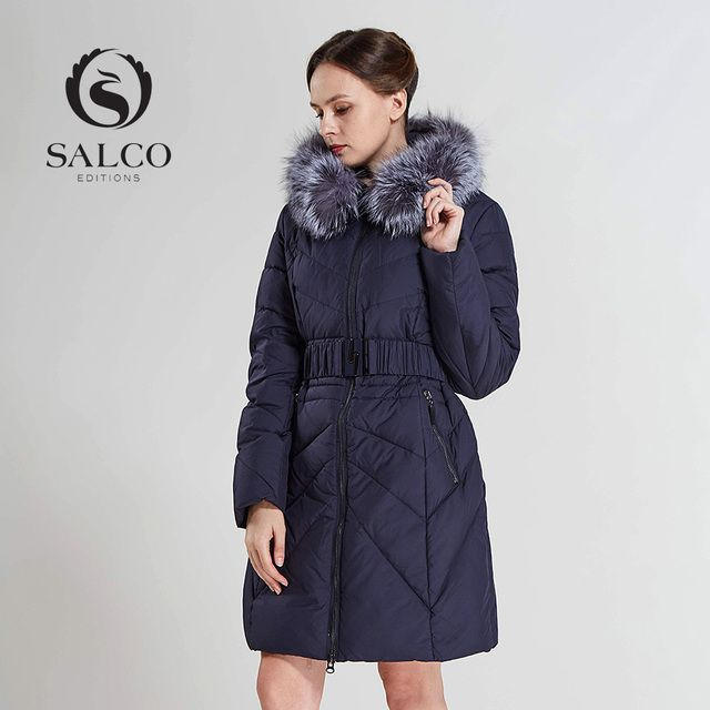 SALCO Free shipping New 2016 ms silver fox collars in two color warm winter long hooded down jacket overcoat