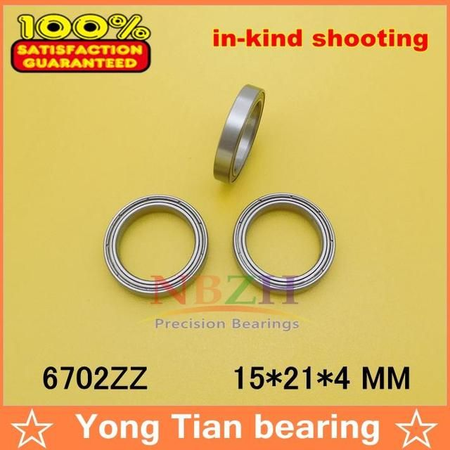 50pcs free shiping The high quality of ultra-thin deep groove ball bearings 61702ZZ 6702ZZ 15*21*4 mm