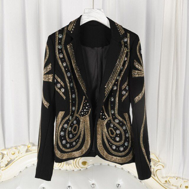 HIGH QUALITY New Fashion 2016 Runway Designer Jacket Women's Luxury Beading Rivet Blazer Outer Wear