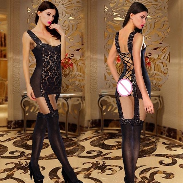 2017 Women's Style Transparent Net Lace Lace Sexy Pose Mount Palace Vest Garter Belt Socks Socks