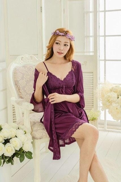 Summer New Silk Nighty Two PC Women Super Sexy Lounge sleepwear