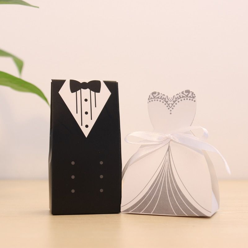 New 100Pcs Bridal Gift Bag Cases Groom Tuxedo Dress Gown Ribbon Wedding Favor Candy Box