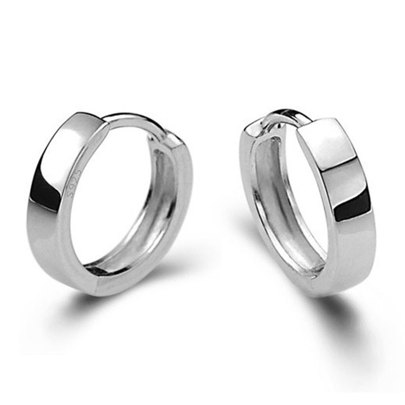 Minimalist Silver Hoop Earrings Circle Buckle Aros Loop Huggie Earings For Men Women Creole Oorbellen Boucles D'oreilles