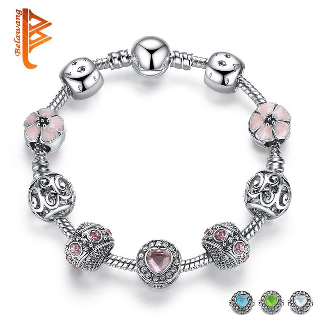 BELAWANG Luxury 925 Silver Charm Bracelet For Women With Flower and Crystal Heart Bead Bracelets Wedding Valentine's Day Jewelry