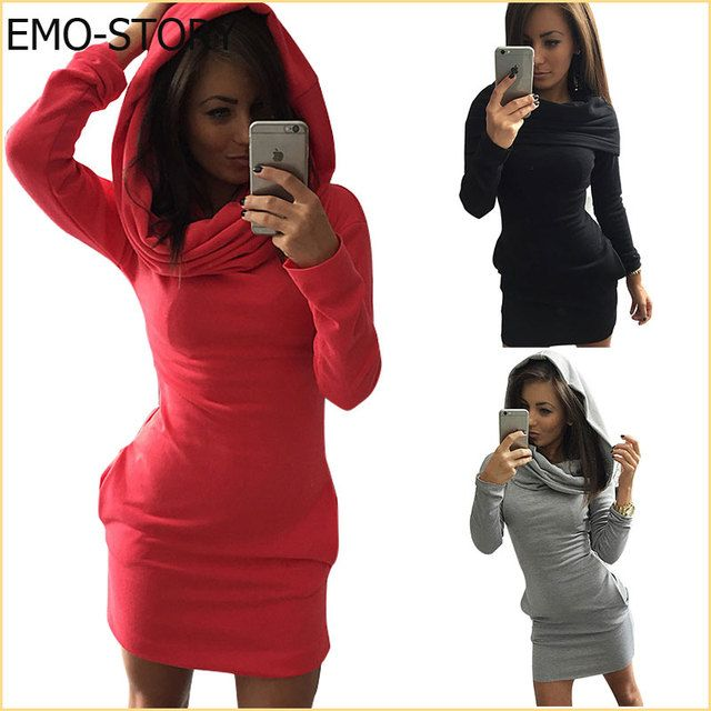 2016 Fashion Women Ladies Autumn Winter Hoodie Dress Long Sleeve Casual Hooded Sweatshirts Sexy Women Clothes#QYX8954