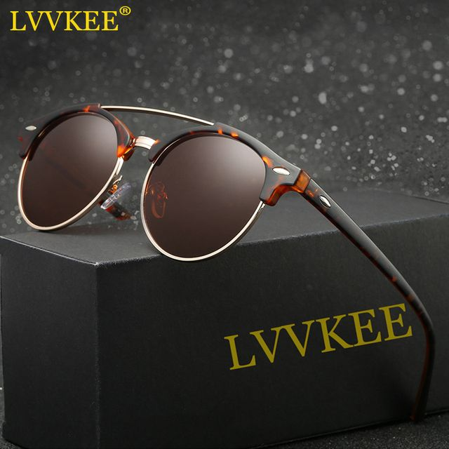 LVVKEE 2018 Latest Styles Half Frame Polarized Sunglasses Women/Men Mirror Classic Sun glasses High Quality UV400 Oculos de sol