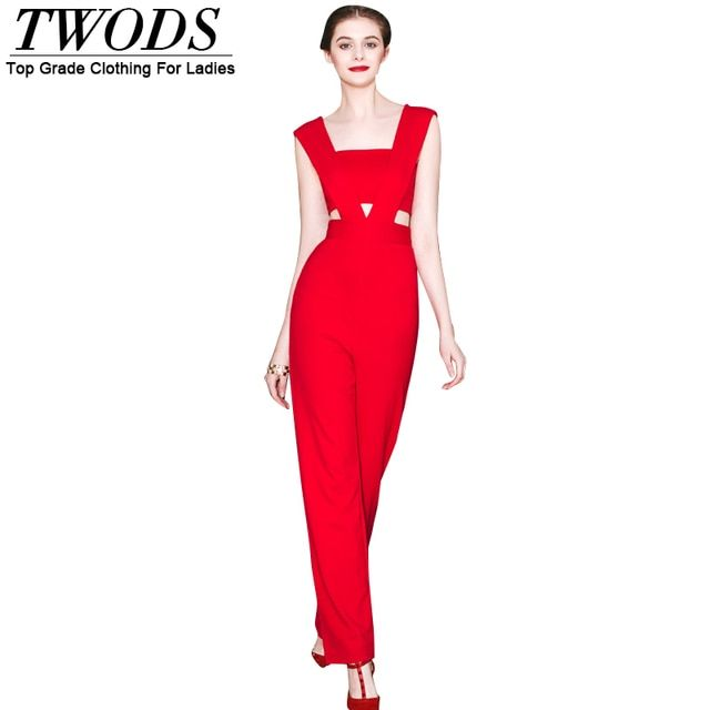Twods Red Rompers Womens Jumpsuit 2016 Summe New Fashion Designer Long Pants Cut-out Waist Sexy One Piece Outfits S M L