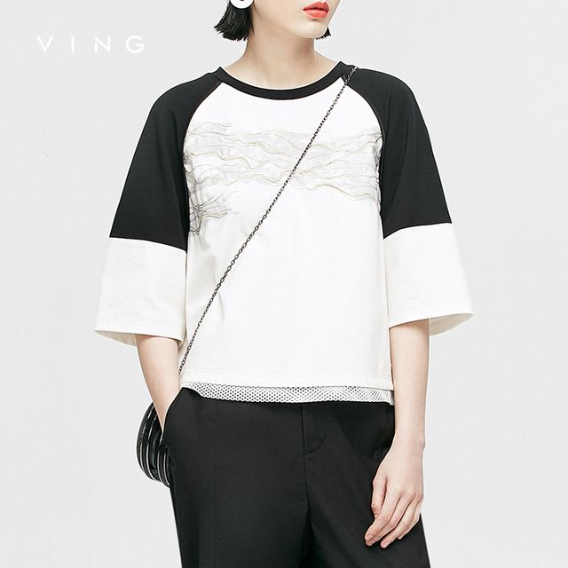 VING Funny T-Shirts 2017 Summer Wommen Contrast Color Patchwork Embroidery O-neck Loose T-Shirt