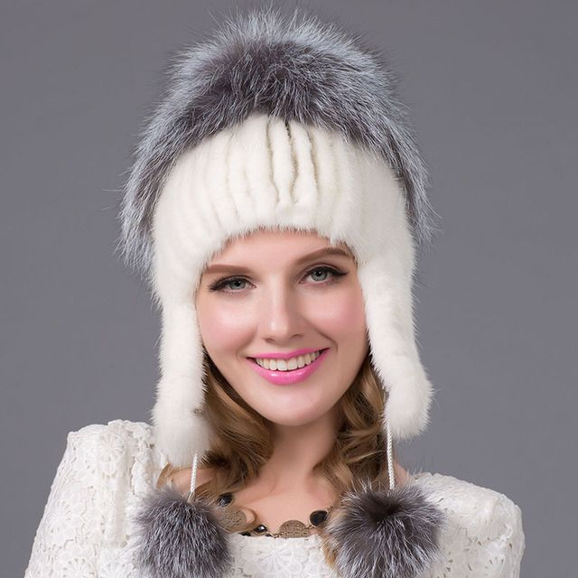 Russia winter hats for women genuine mink fur hat with silver fox fur  2016 lady's fashion high-end female cap DHY-22