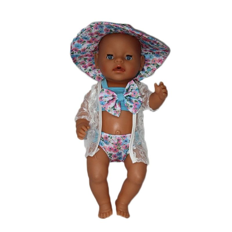 Zapf Baby Born Doll Clothes Cute Swimsuit Bikini Suit + Jacket Sunhat Suit Fit 43cm Zapf Baby Born 43-45cm Doll Accessories